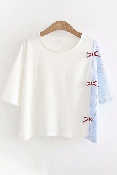 Color Short Sleeve Block Bow Tee Front Round Neck TY8n5wFWU