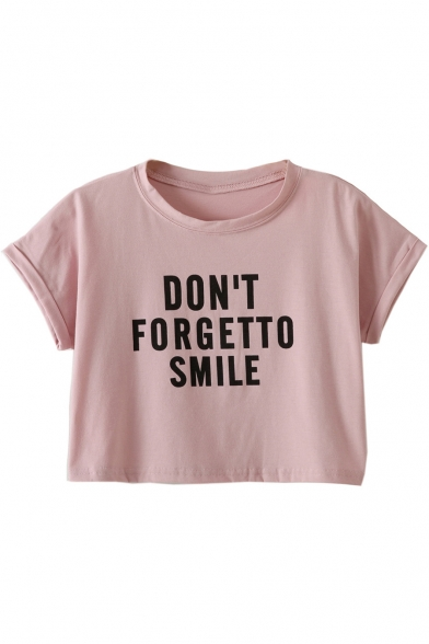 DON'T SMILE Printed Sleeve Tee Crop Letter Short TO FORGET Neck Round aqP6aA71
