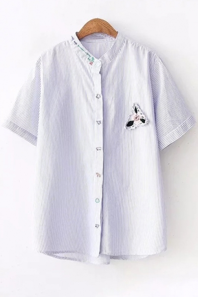 Embroidered Collar Applique Short Down Striped Stand Sleeve Floral Buttons Up Shirt I4fwIq