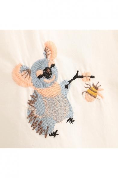 Koala Beer Embroidered Lapel Collar Long Sleeve Buttons Down Shirt