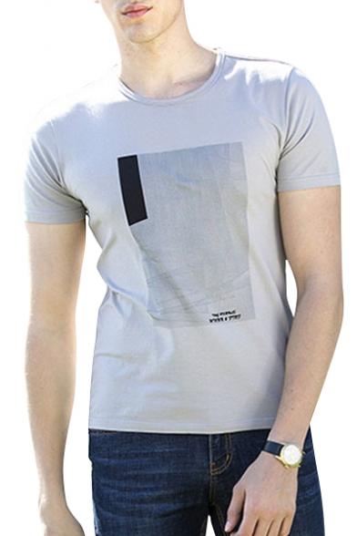 Neck Round Tee Short Geometric Letter Sleeve Printed q1w4nHB