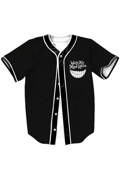 Letter Mouth Printed Short Sleeve Buttons Down Baseball Tee