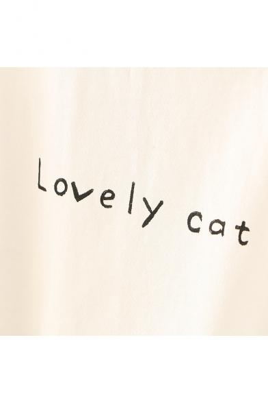 Animal Tee Sleeve Navy Printed Collar CAT LOVELY Short a0w858