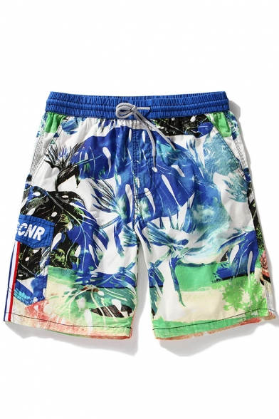 Mens Designer Blue Fast Drying Drawstring Tropical Leaf Bathing Trunks with Cargo Pocketsnd Loop Pockets