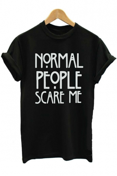 NORMAL SCARE Printed PEOPLE Sleeve Round Neck Short Tee Letter ME rOZrWnv