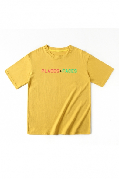 Neck Round FACES Tee PLACES Short Printed Sleeve qpHw48Z4x