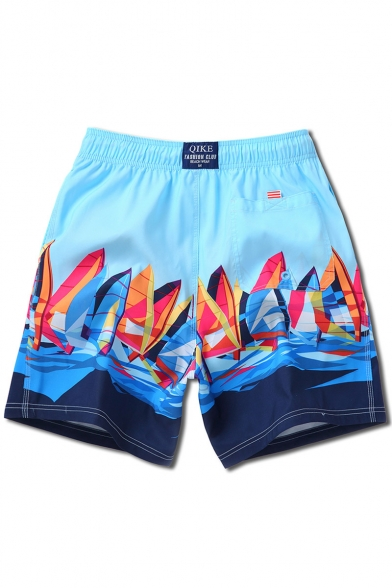 Quick Dry Bright Blue and Navy Drawstring Sailing Boat Print Stretch Swimming Shorts for Male