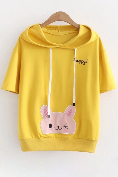 Short Embroidered Sleeve HAPPY Tee Hooded Rabbit aRUwPgqW4q