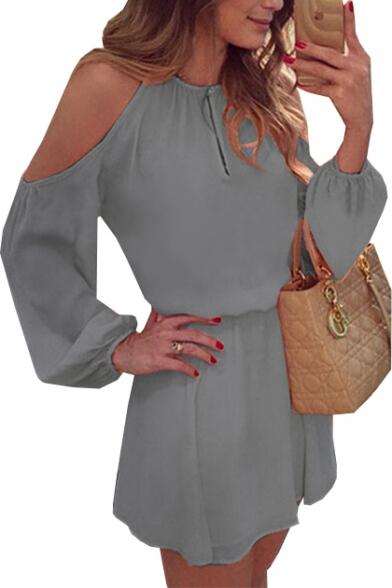 Round Neck Cold Shoulder Long Sleeve Plain Mini A-Line Dress