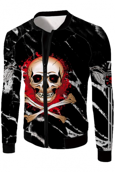 Stand Long Letter Sleeve Printed Jacket Collar Up Up Zip Skull wIxqBRgg