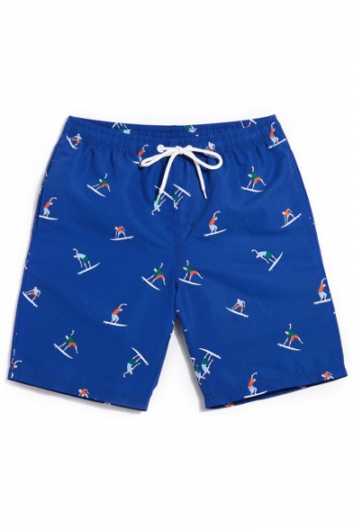 Top Rated Fashion Blue Cartoon Surfing Print Swim Trunks without Mesh Brief Lining