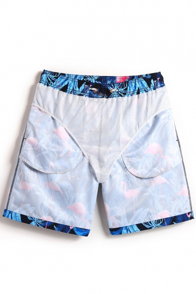 Trendy Men's Black Elastic Tropical Flamingo Printed Beach Shorts with Pockets and Lining