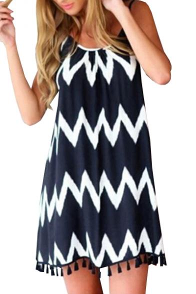 Wave Printed Spaghetti Straps Sleeveless Hollow Out Back Mini Cami Dress