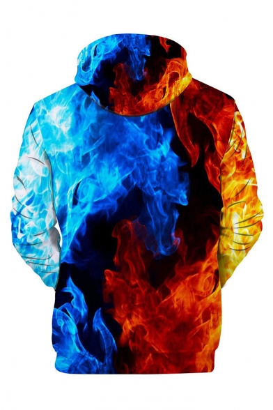 Block Long Fire Hoodie Sleeve Printed 3D Color gxPZH