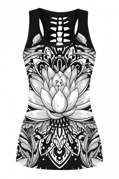 3D Floral Printed Hollow Out Back Slim Sleeveless Tank