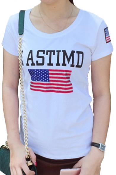 Sleeve Neck Round Short ASTIMD Tee letter Flag American Print xnHzwpR1q