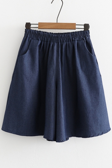 Basic Plain Elastic Waist Denim Culotte