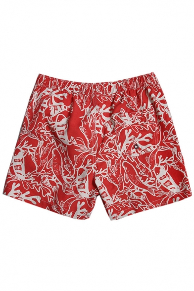 Best Elastic Men's Navy Blue Fish Coral Drawcord Swim Trunks Shorts without Lining
