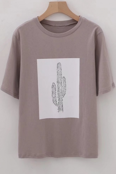 Sleeve Printed Tee Cactus Neck Round Short IHTwT6Sq