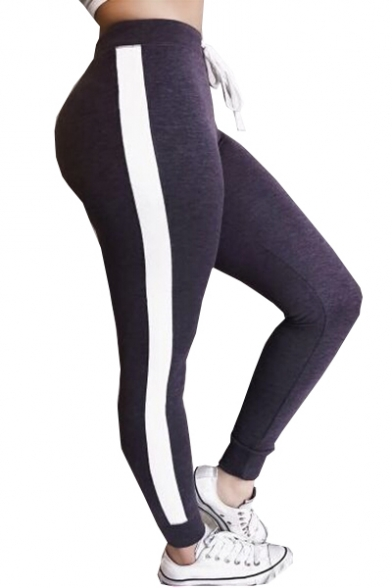 Color Block Drawstring Waist Skinny Sports Leggings