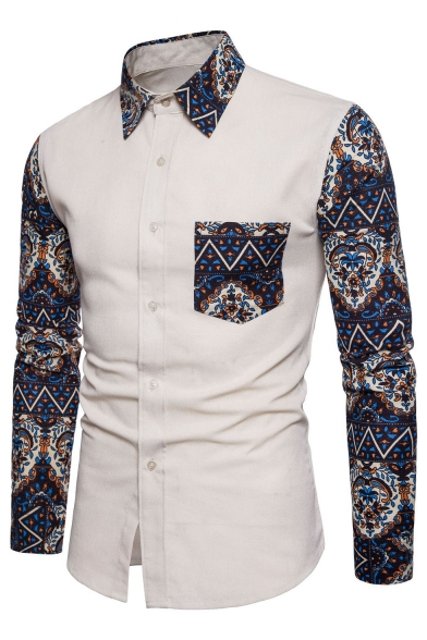 Color Block Floral Printed Lapel Collar Long Sleeve Buttons Down Shirt