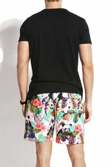 Cute Elastic Colorful Tropical Panda Stretch Swim Trunks for Men with Mesh Lining and Pockets