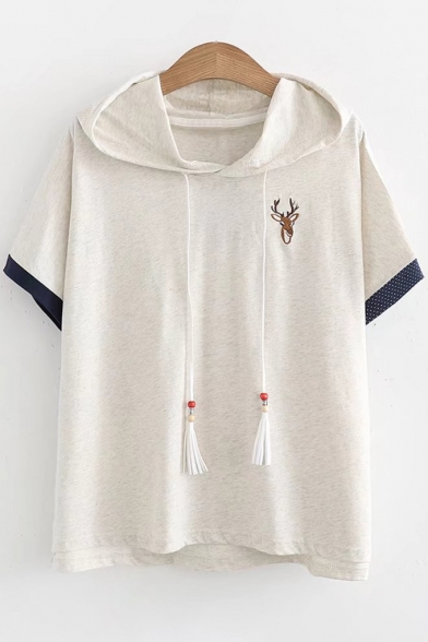 Tee Hood Ears Embellished Sleeve Hooded Embroidered Deer Short wA0qaWR