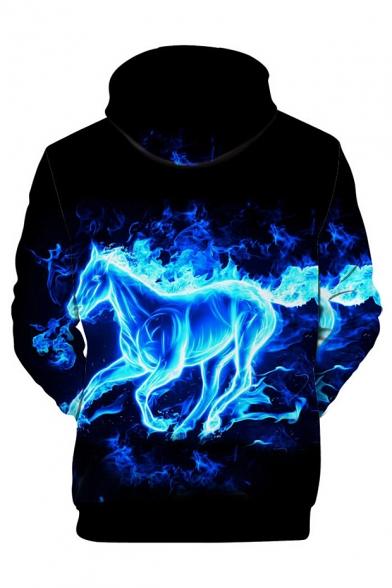 Sleeve Hoodie Horse Fire Printed Long qPRWva