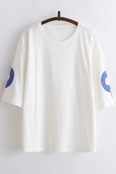 Tee Floral Printed Cat Neck Short Round Sleeve Yqwp4YZ