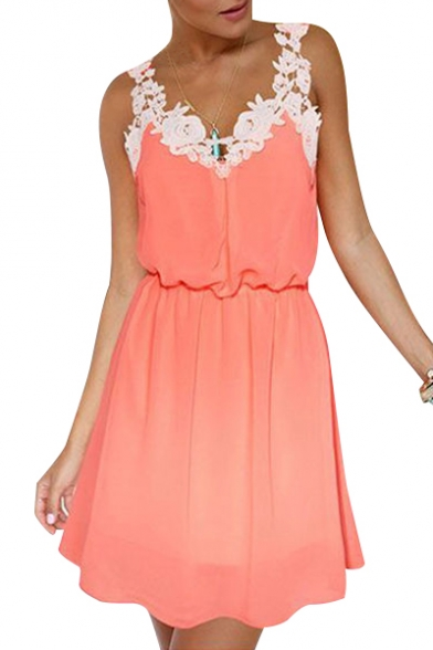 Floral Embellished Straps Sleeveless Mini A-Line Dress