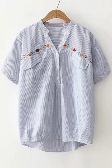 Floral Embroidered Stripes Stand Collar Short Sleeve Shirt