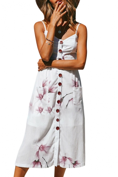 Floral Printed Spaghetti Straps Sleeveless Buttons Down Maxi Cami Dress