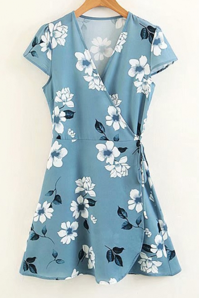 Floral Printed Wrap Tie Side Short Sleeve Dress