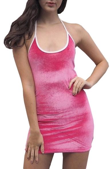 Halter Sleeveless Mini Plain Bodycon Dress
