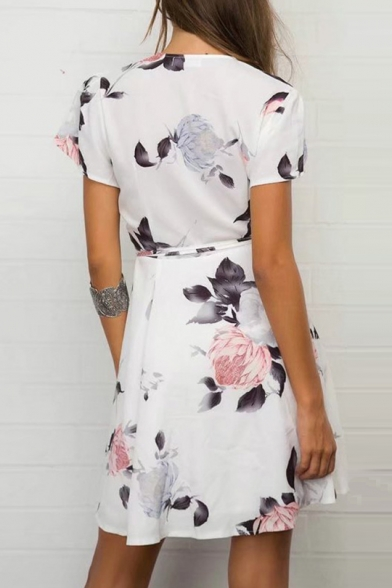 Holiday V Neck Floral Printed Short Sleeve Mini Wrap Dress