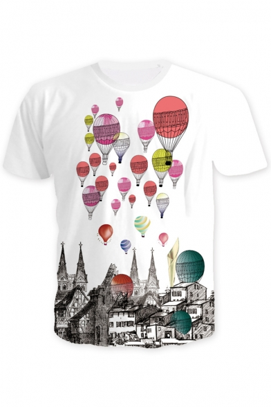 Hot Air Balloon House Printed Round Neck Short Sleeve Tee