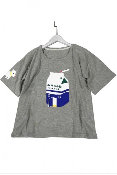 Japanese Sleeve Printed Tee Short Round Milk Dog Neck frqPSwf