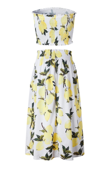 Waist Co Lemon ords Bandeau Crop Elastic with Maxi Printed Skirt pnqATXn6