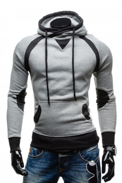 Men S Color Block Long Sleeve Slim Hoodie Beautifulhalo Com