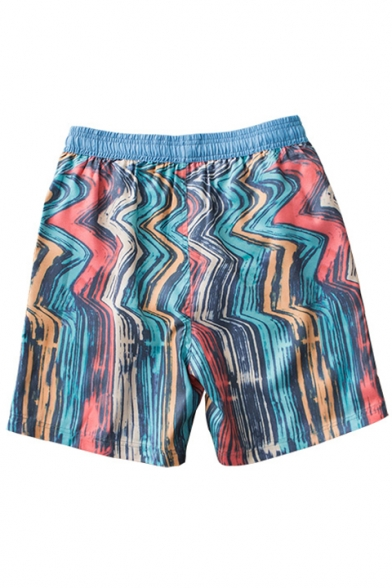 Multiple Colorful Blue Colorblocked Oil Painting Swim Shorts for Guys with Brief Lining