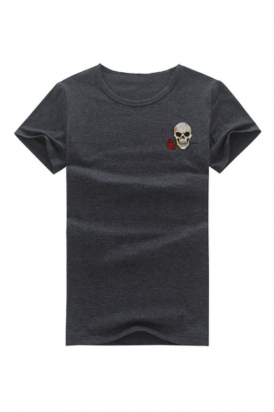 Embroidered Floral Neck Short Sleeve Round Tee Skull 5tzxv
