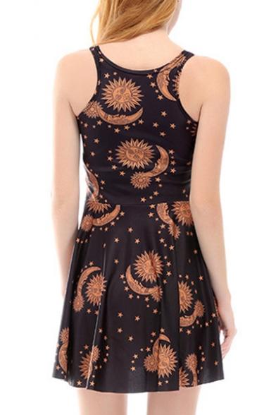 Sun Star Printed Round Neck Sleeveless Mini A-Line Dress