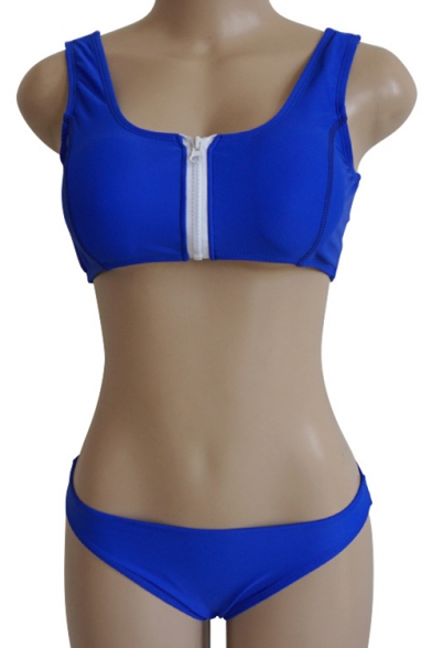 Front Zipper Crop Sleeveless Bikini Tank Plain Sdq6wd4