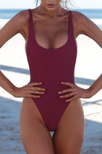 Basic Plain Open Back Sleeveless One Piece Swimwear