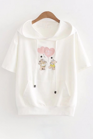 Letter Bear Short Heart Sleeve Hooded Tee Embroidered r5Prx