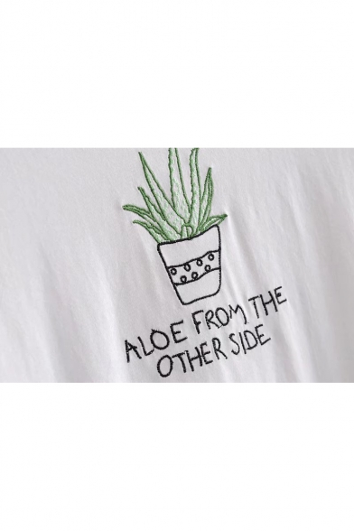 FROM Tee ALOE Round Embroidered ME Sleeve Cactus Short Neck z1px55