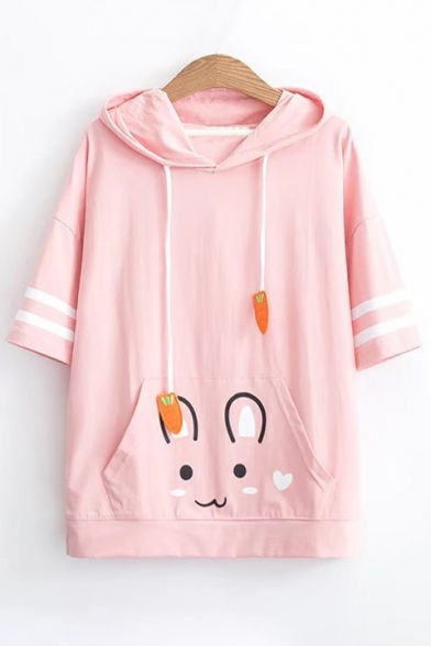 Short Drawstring Printed Pattern Embellished Hood Hooded Tee Rabbit Sleeve Carrot OBYwUqZ