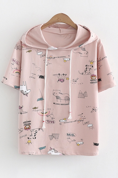 Short Tee Cartoon Sleeve Animal Printed Hooded xHHZCf