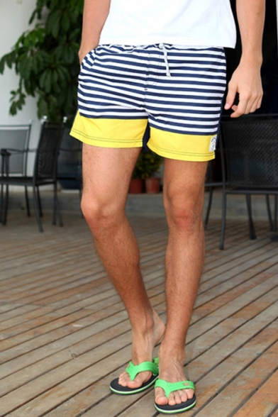 5fdbaf9261 ... Classic Quick Drying Drawstring Blue and Yellow Striped Pattern Swim  Trunks for Male with Pockets ...