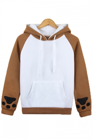 Color Block Dog Pattern Long Sleeve Hoodie